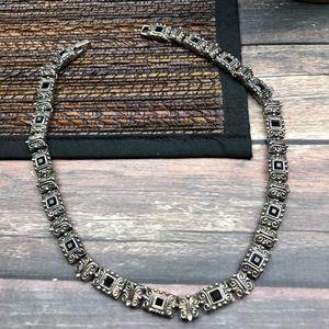 Vintage Silver Black choker Necklace